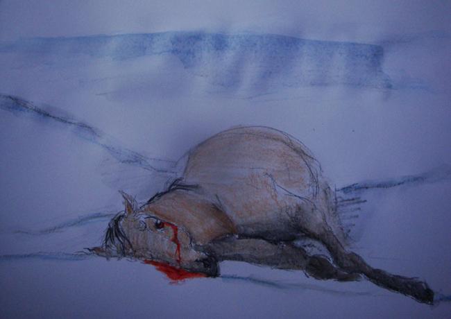 Zátiší s mrtvým koněm (izabelle)