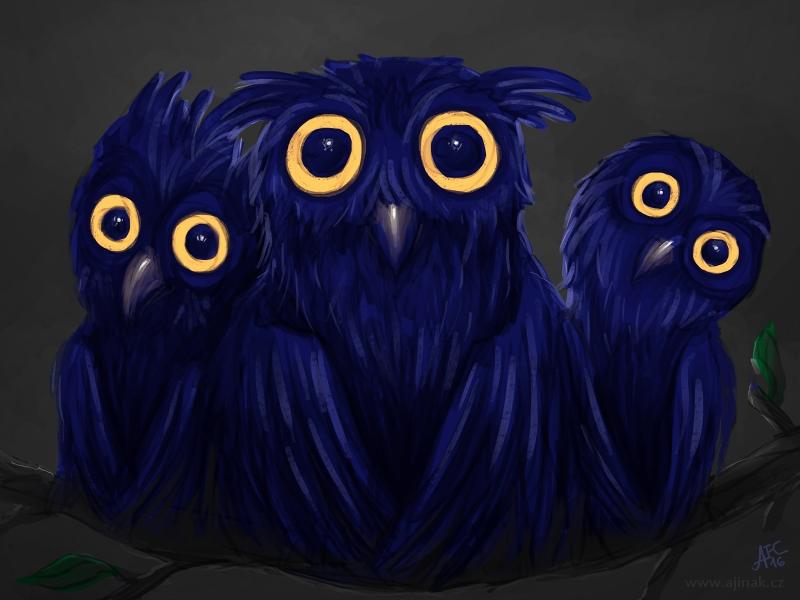Tři modrosovy (ajinak)