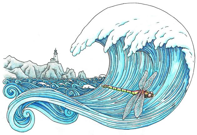 Vážka ve vlnách