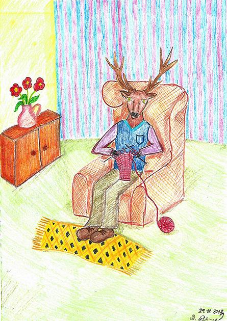 jelen a pletený svetr (Axi)